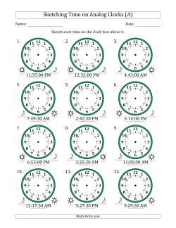 Sketching 12 Hour Time on Analog Clocks in 30 Second Intervals (12 Clocks)