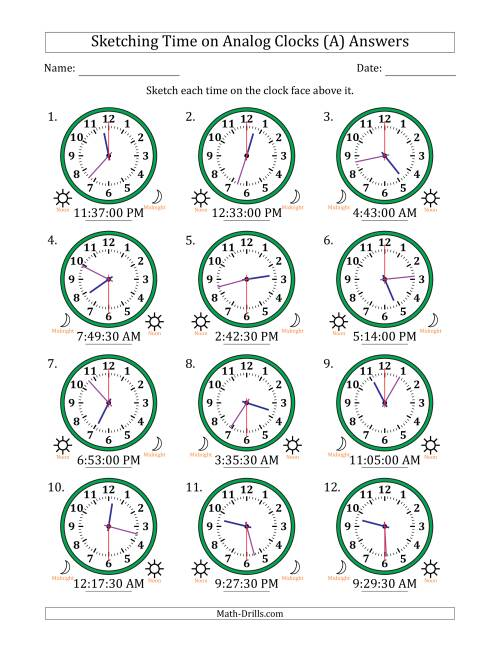The Sketching 12 Hour Time on Analog Clocks in 30 Second Intervals (12 Clocks) (A) Math Worksheet Page 2