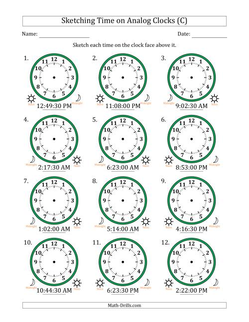 The Sketching Time on Analog Clocks in 30 Second Intervals (C) Math Worksheet