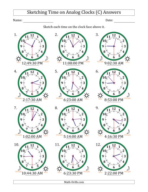 The Sketching Time on Analog Clocks in 30 Second Intervals (C) Math Worksheet Page 2