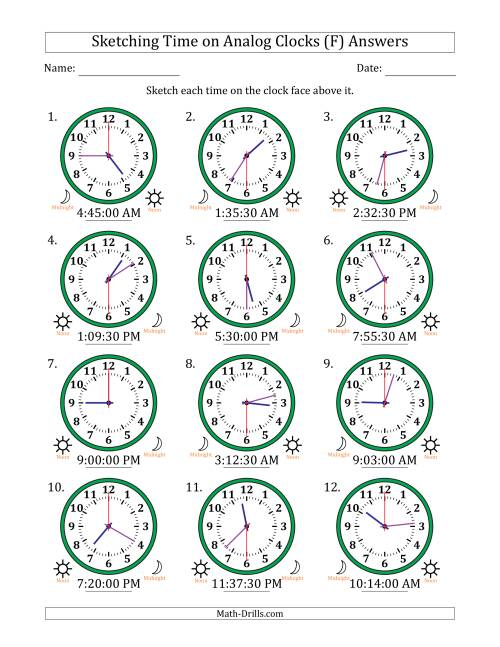 The Sketching 12 Hour Time on Analog Clocks in 30 Second Intervals (12 Clocks) (F) Math Worksheet Page 2