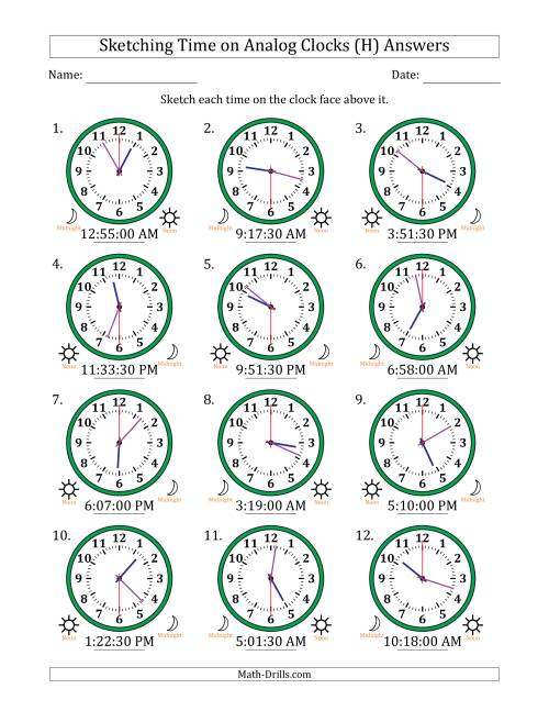 The Sketching 12 Hour Time on Analog Clocks in 30 Second Intervals (12 Clocks) (H) Math Worksheet Page 2