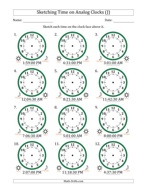 The Sketching Time on Analog Clocks in 30 Second Intervals (J) Math Worksheet