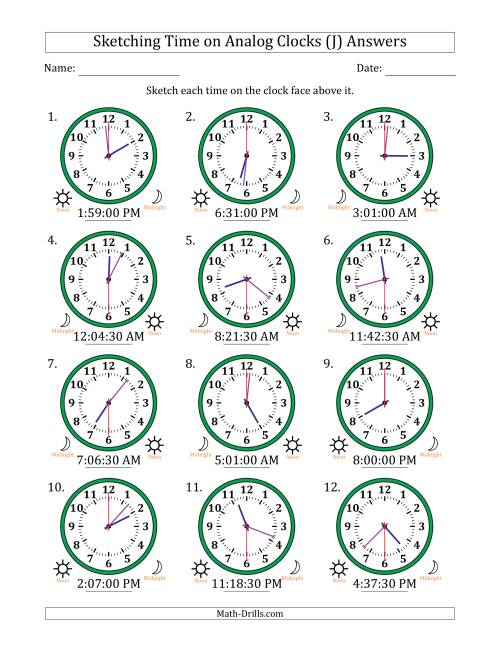 The Sketching Time on Analog Clocks in 30 Second Intervals (J) Math Worksheet Page 2