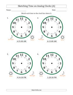 Sketching 12 Hour Time on Analog Clocks in 30 Second Intervals (4 Large Clocks)
