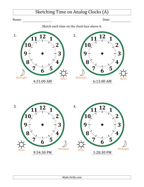 The Sketching 12 Hour Time on Analog Clocks in 30 Second Intervals (4 Large Clocks) (A) Math Worksheet