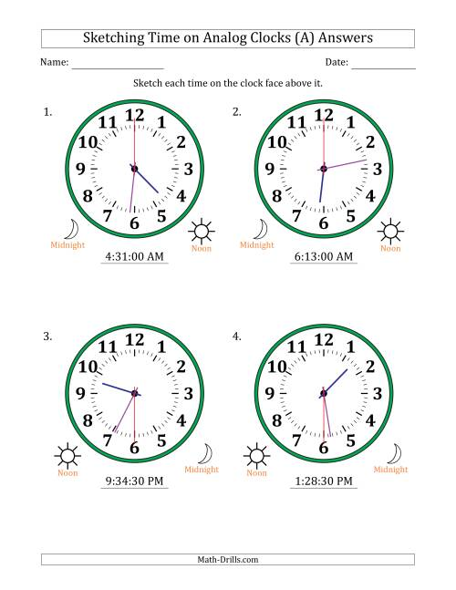 The Sketching 12 Hour Time on Analog Clocks in 30 Second Intervals (4 Large Clocks) (A) Math Worksheet Page 2