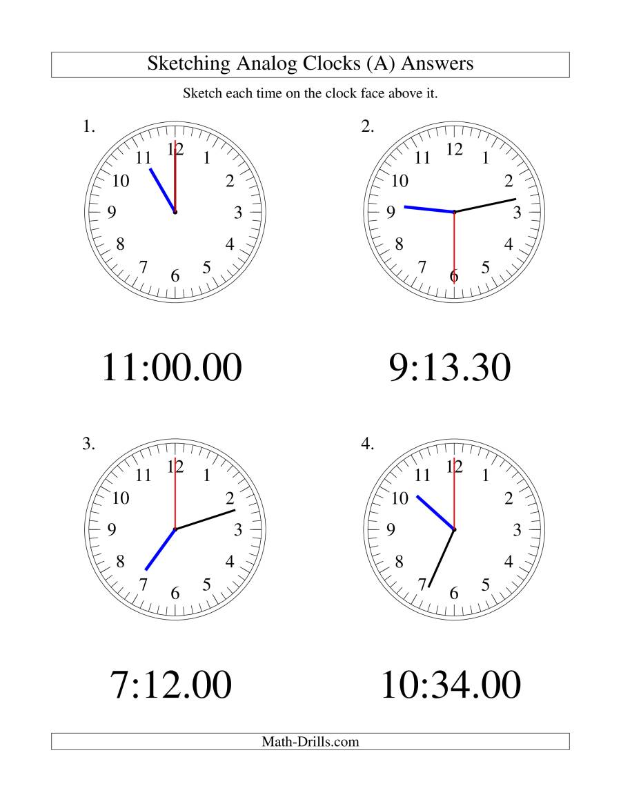 The Sketching Time on Analog Clocks in 30 Second Intervals (LP) Math Worksheet Page 2