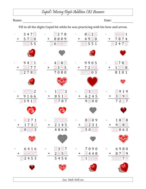 The Cupid's Missing Digits Addition (Harder Version) (A) Math Worksheet Page 2