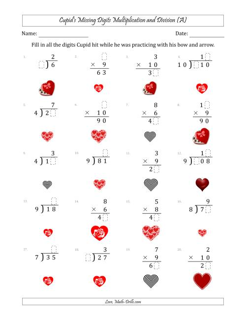 The Cupid's Missing Digits Multiplication and Division (Easier Version) (A) Math Worksheet