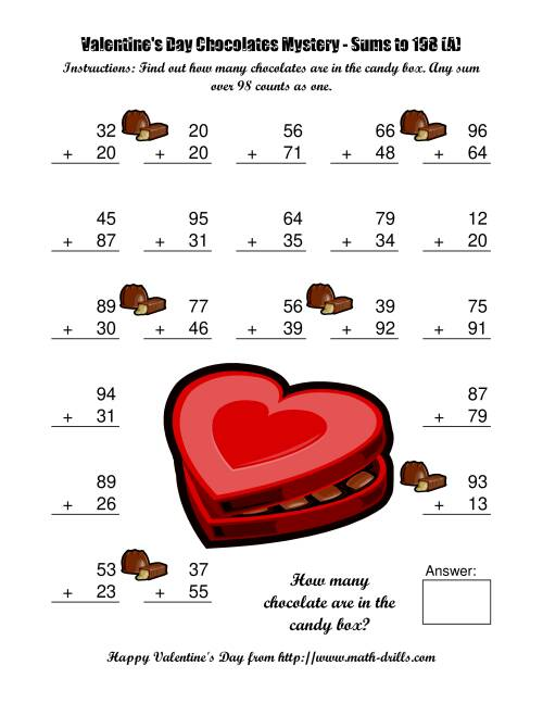 math worksheet : chocolates mystery two digit plus two digit addition a  : Valentine Math Worksheets Free
