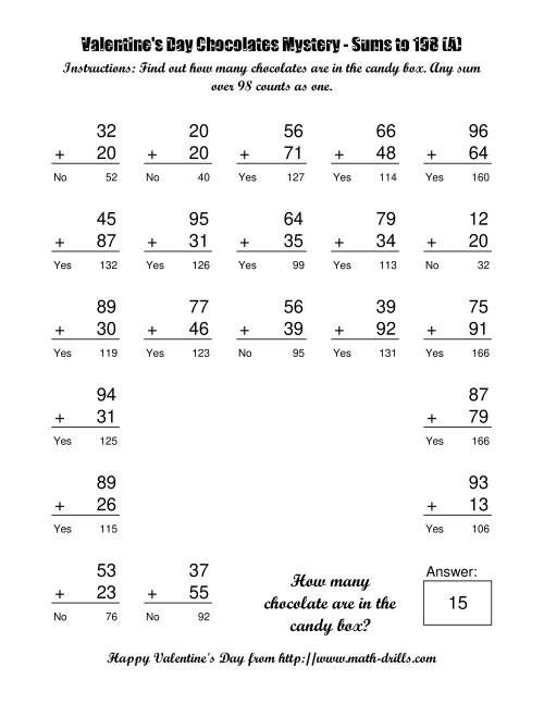 The Chocolates Mystery Two-Digit Plus Two-Digit Addition (A) Math Worksheet Page 2