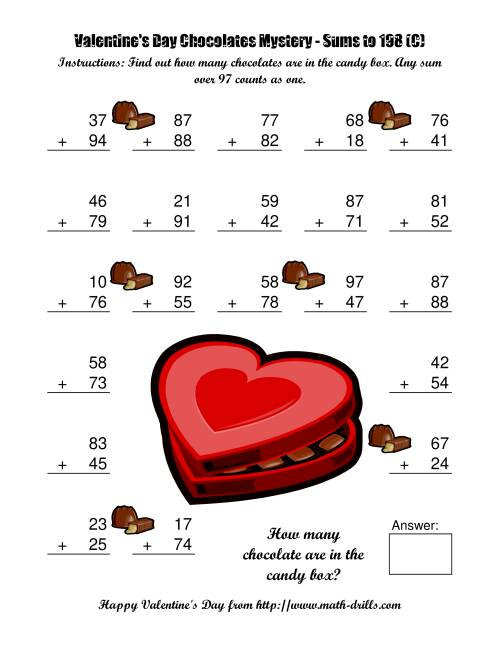 The Chocolates Mystery Two-Digit Plus Two-Digit Addition (C) Math Worksheet