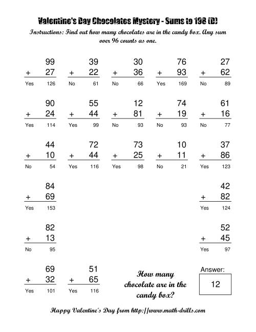 The Chocolates Mystery Two-Digit Plus Two-Digit Addition (D) Math Worksheet Page 2