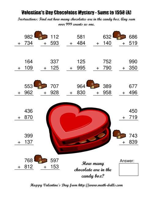 Valentine Math Worksheets Free Davezan – Free Valentine Math Worksheets