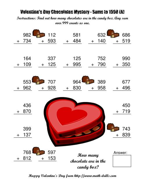 The Chocolates Mystery Three-Digit Plus Three-Digit Addition (A) Valentine's Day Math Worksheet