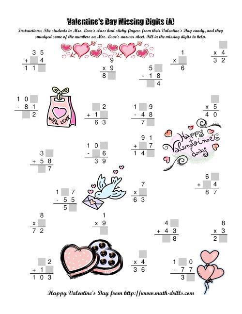 Valentine S Day Math Worksheets For 3rd Grade : Valentine addition worksheets rd grade s day