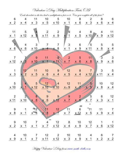 The Multiplication Facts to 144 (A) Valentine's Day Math Worksheet
