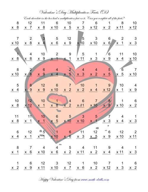 The Multiplication Facts to 144 (D) Math Worksheet
