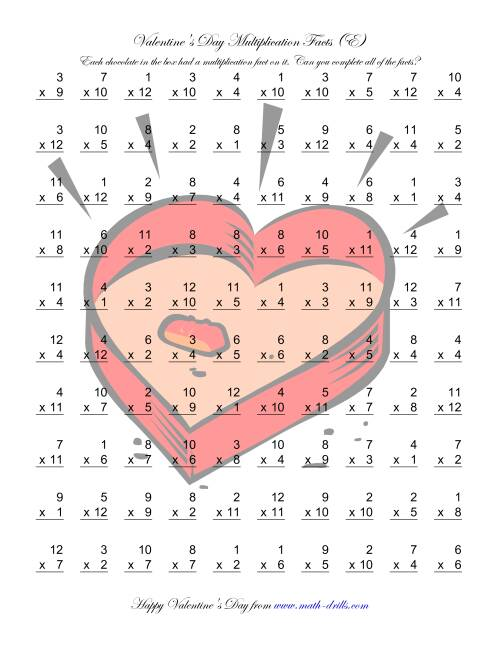 The Multiplication Facts to 144 (E) Math Worksheet