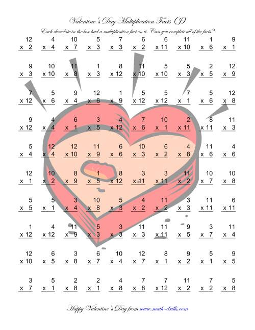 The Multiplication Facts to 144 (J) Math Worksheet