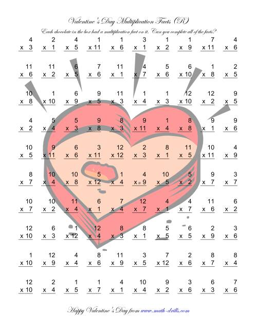 The Multiplication Facts to 144 (R) Math Worksheet