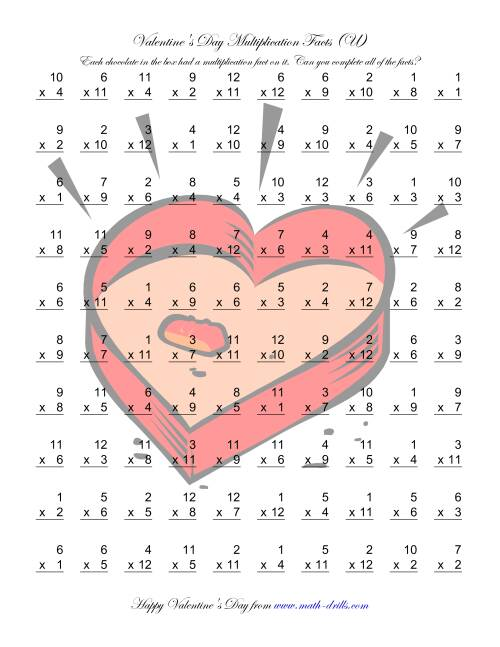 The Multiplication Facts to 144 (U) Math Worksheet