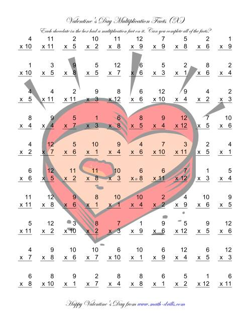 The Multiplication Facts to 144 (X) Math Worksheet
