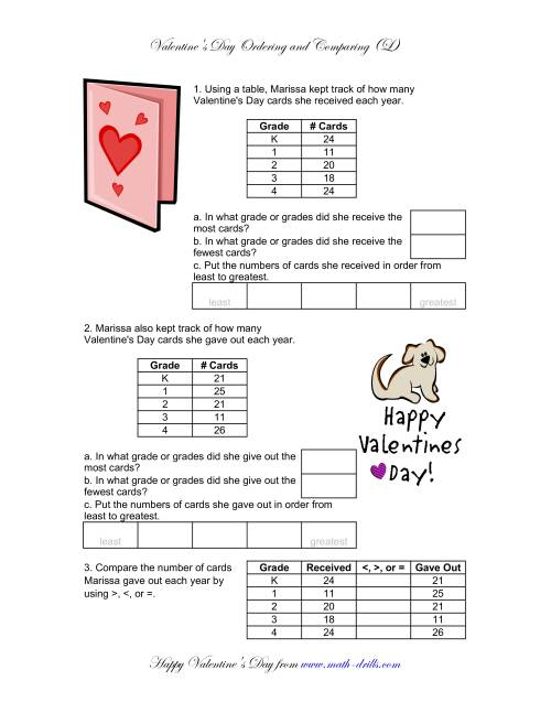 The Comparing and Ordering Numbers (L) Math Worksheet