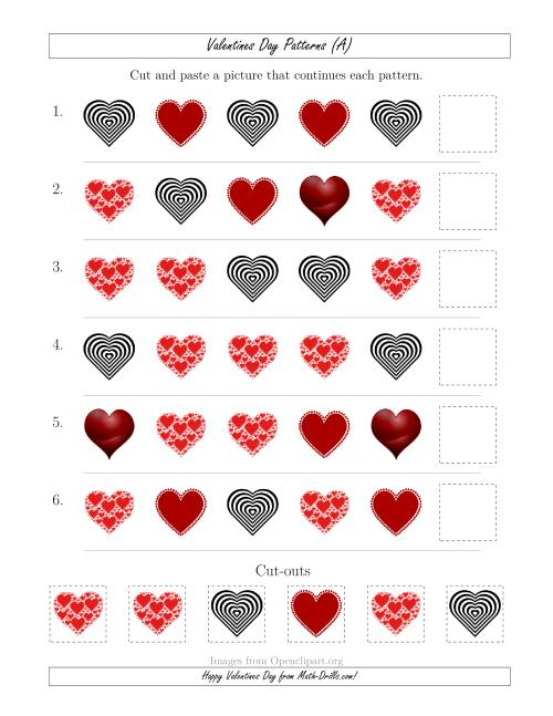 Valentines Day Picture Patterns with Shape Attribute Only A – Valentines Day Math Worksheets