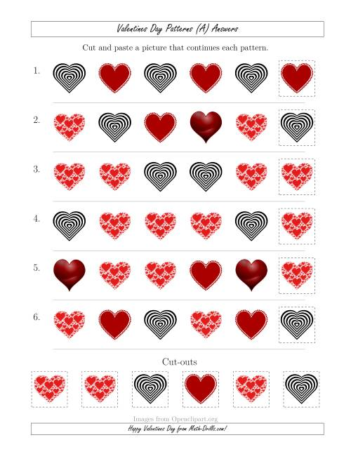 The Valentines Day Picture Patterns with Shape Attribute Only (A) Math Worksheet Page 2