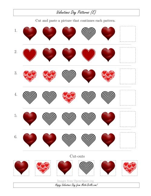 The Valentines Day Picture Patterns with Shape Attribute Only (E) Math Worksheet