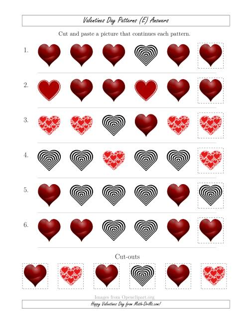 The Valentines Day Picture Patterns with Shape Attribute Only (E) Math Worksheet Page 2
