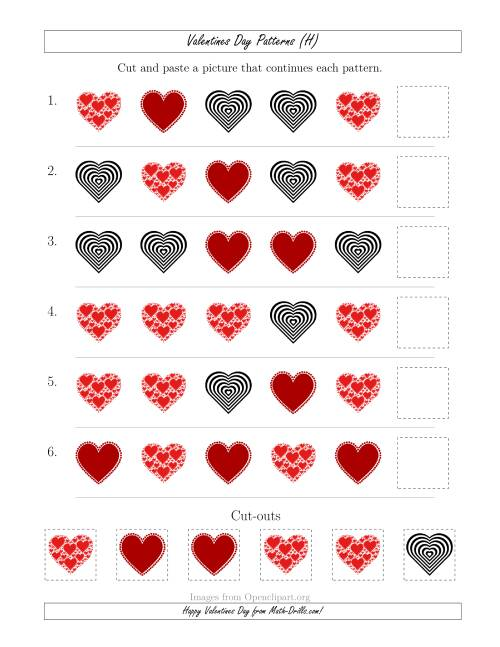 The Valentines Day Picture Patterns with Shape Attribute Only (H) Math Worksheet