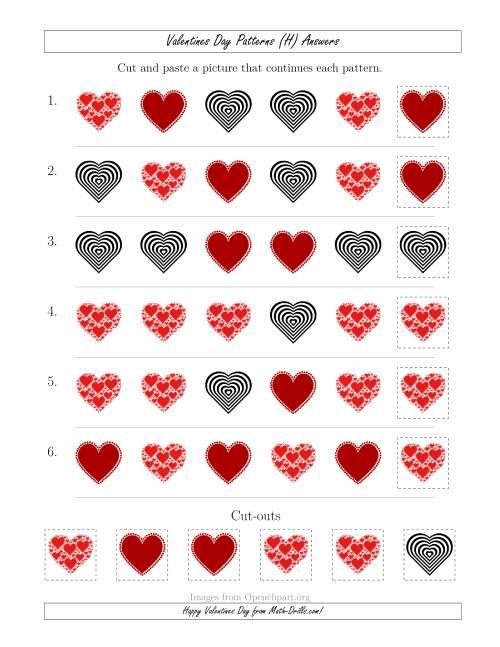 The Valentines Day Picture Patterns with Shape Attribute Only (H) Math Worksheet Page 2