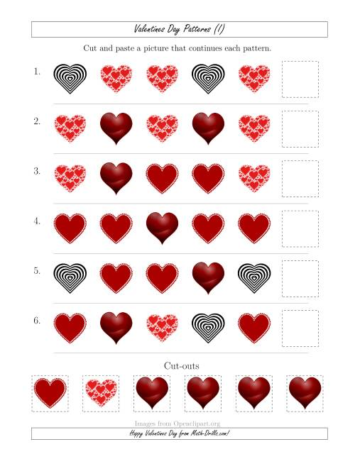 The Valentines Day Picture Patterns with Shape Attribute Only (I) Math Worksheet