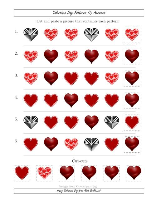 The Valentines Day Picture Patterns with Shape Attribute Only (I) Math Worksheet Page 2