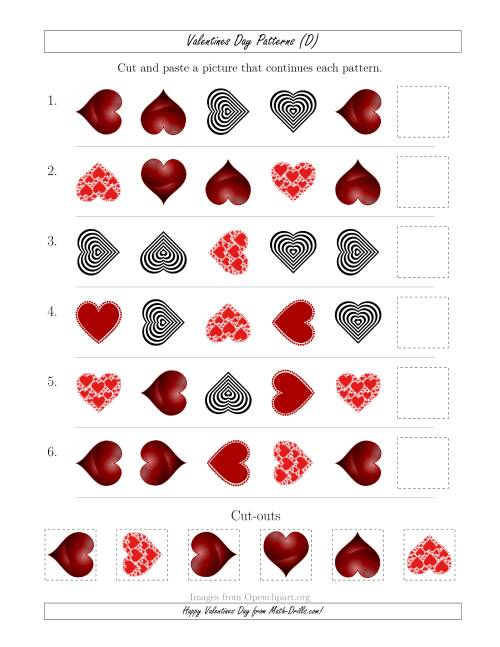 The Valentines Day Picture Patterns with Shape and Rotation Attributes (D) Math Worksheet