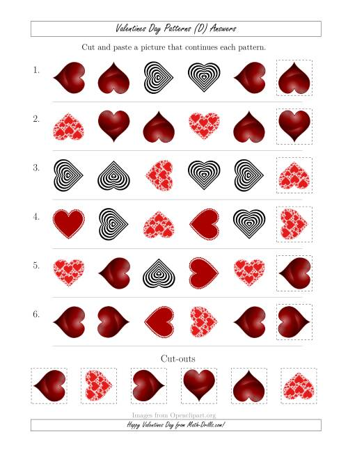 The Valentines Day Picture Patterns with Shape and Rotation Attributes (D) Math Worksheet Page 2