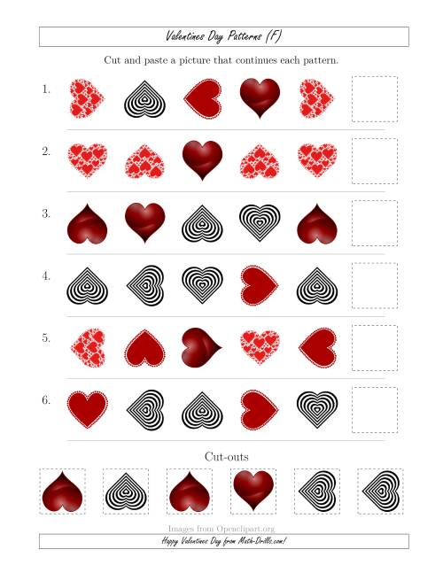 The Valentines Day Picture Patterns with Shape and Rotation Attributes (F) Math Worksheet