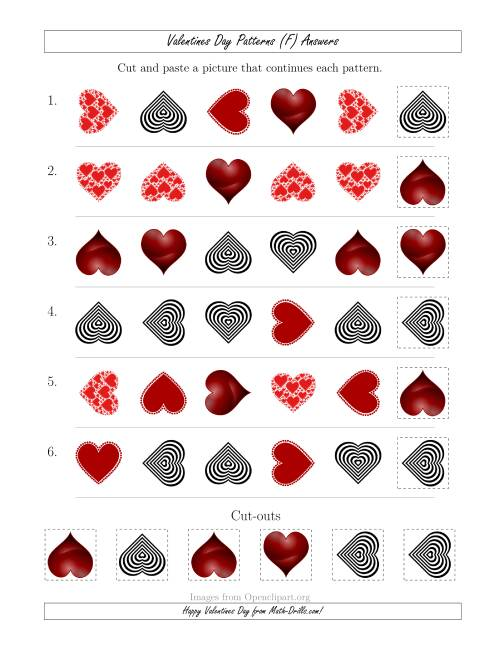The Valentines Day Picture Patterns with Shape and Rotation Attributes (F) Math Worksheet Page 2