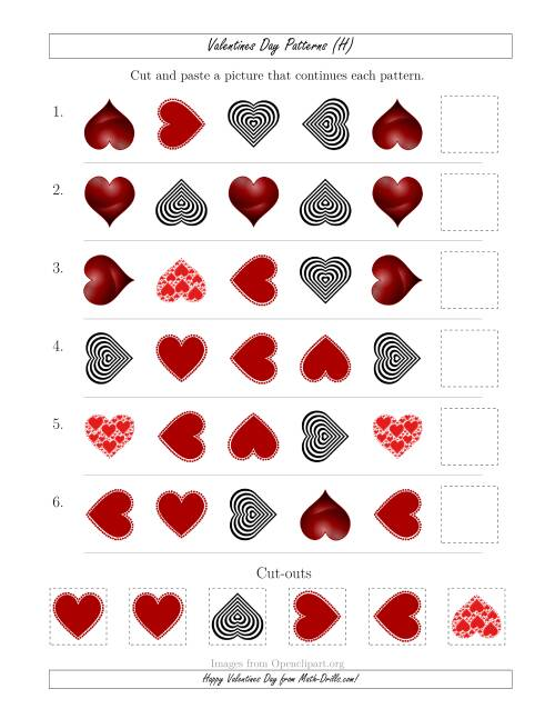 The Valentines Day Picture Patterns with Shape and Rotation Attributes (H) Math Worksheet