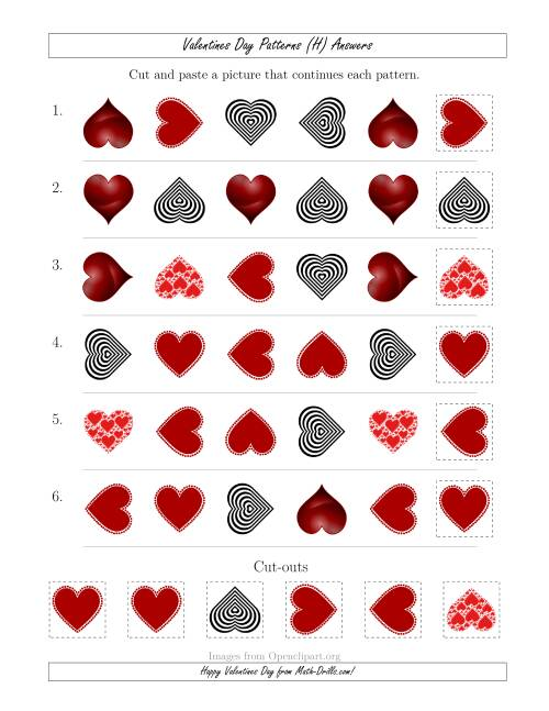 The Valentines Day Picture Patterns with Shape and Rotation Attributes (H) Math Worksheet Page 2