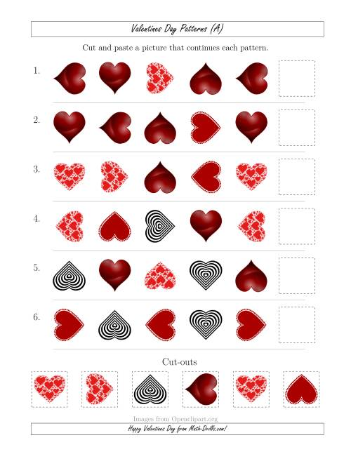 The Valentines Day Picture Patterns with Shape and Rotation Attributes (All) Math Worksheet