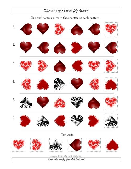 The Valentines Day Picture Patterns with Shape and Rotation Attributes (All) Math Worksheet Page 2
