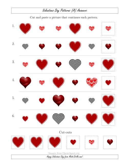 The Valentines Day Picture Patterns with Shape and Size Attributes (A) Math Worksheet Page 2