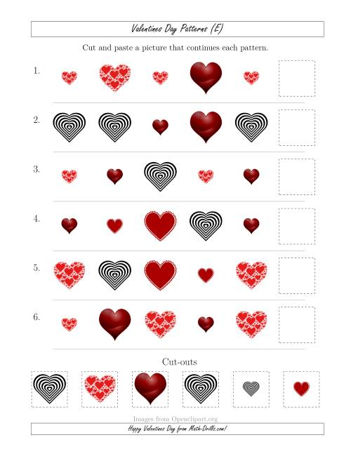 The Valentines Day Picture Patterns with Shape and Size Attributes (E) Math Worksheet