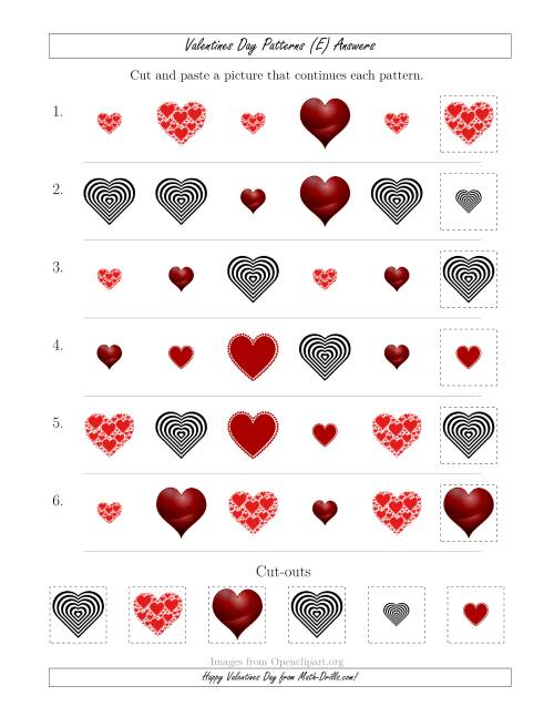 The Valentines Day Picture Patterns with Shape and Size Attributes (E) Math Worksheet Page 2