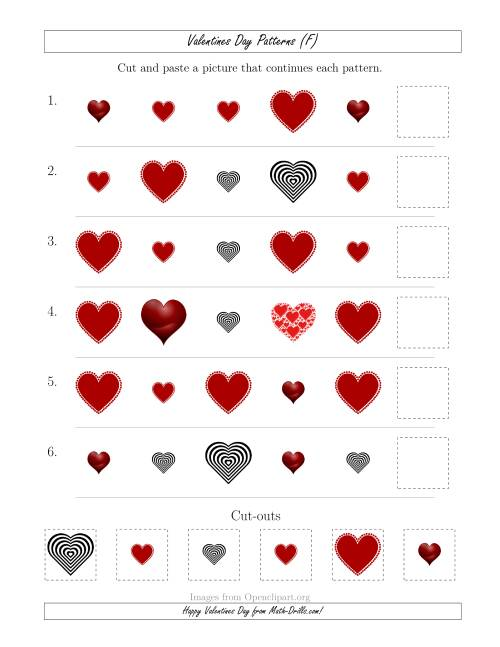 The Valentines Day Picture Patterns with Shape and Size Attributes (F) Math Worksheet