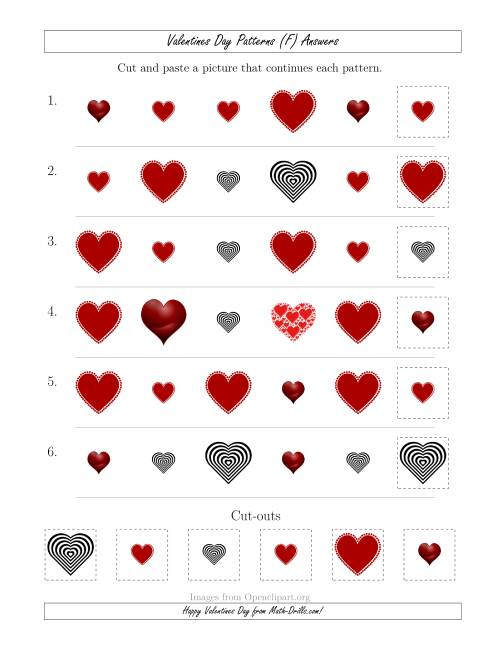 The Valentines Day Picture Patterns with Shape and Size Attributes (F) Math Worksheet Page 2